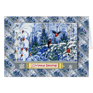 Vintage Russian Christmas, Robins in the forest Greeting Card