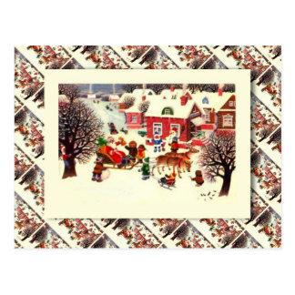 Vintage Russian Christmas, Santa and children Postcard