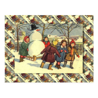 Vintage Russian Christmas, Snowman and children Postcard