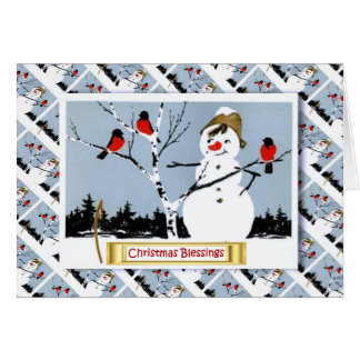 Vintage Russian Christmas, Snowman and robins Greeting Card