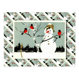 Vintage Russian Christmas, Snowman and robins Postcard