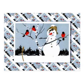 Vintage Russian Christmas, Snowman and robins Postcard