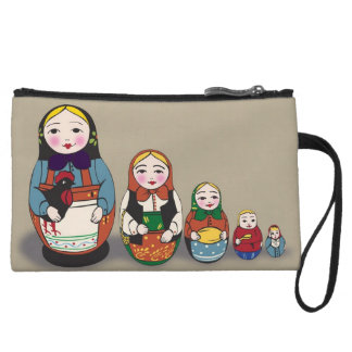 Vintage Russian Doll Wristlet Purse