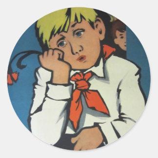 """Vintage Russian Movie Poster """"Чудак из 5 Б"""" Round Sticker"""