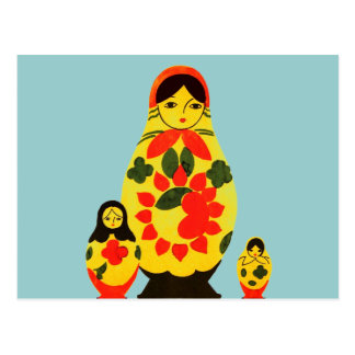 Vintage Russian Russia Chic Matryoshka Doll Post Cards