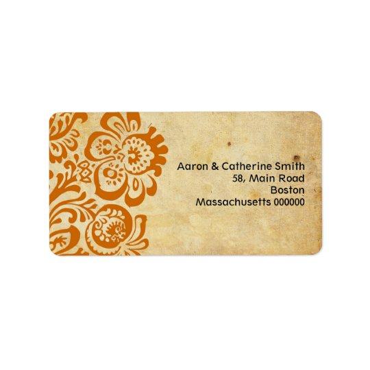 Vintage Rust Floral Wedding Address Labels