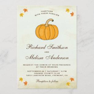 Vintage Rustic Autumn Fall Leaves Pumpkin Wedding Invitation