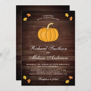 Vintage Rustic Barn Wood Autumn Pumpkin Wedding Invitation