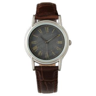 Vintage Rustic Black Gold Roman Numeral Designers Watch