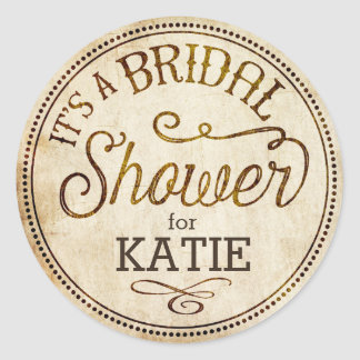Vintage Rustic Bridal Shower Label Classic Round Sticker