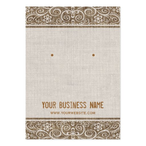 Premium retro vintage business card templates vintage rustic burlap lace earring cards reheart Image collections