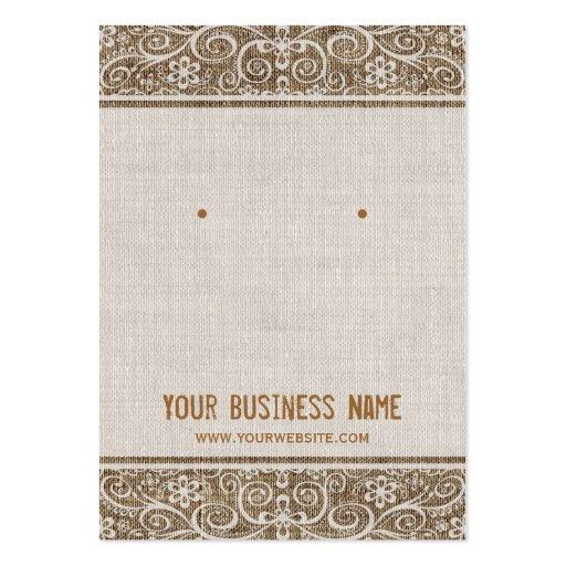 Premium retro vintage business card templates vintage rustic burlap lace earring cards reheart Images