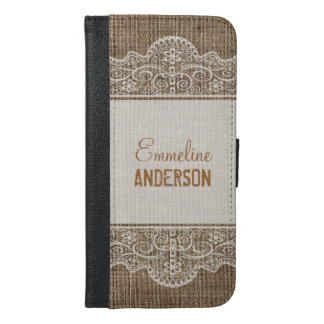 Vintage Rustic Burlap with Beautiful Floral Lace iPhone 6/6s Plus Wallet Case