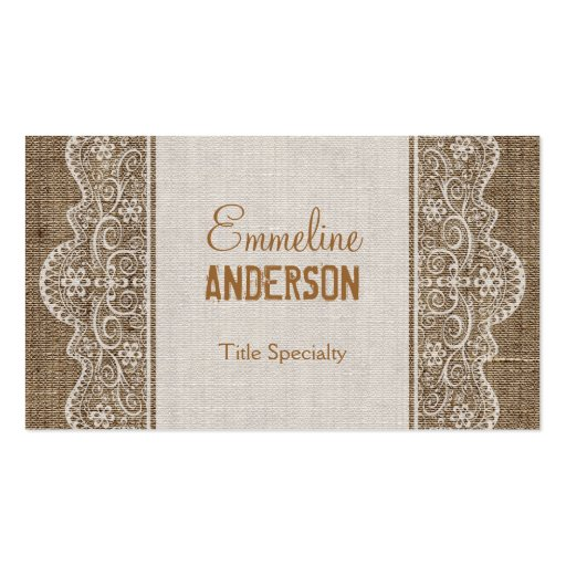 Premium rustic country business card templates vintage rustic burlap with floral lace business card template reheart Image collections