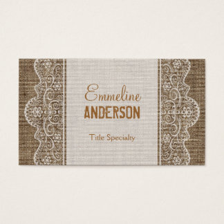 Vintage Rustic Burlap with Floral Lace Business Card