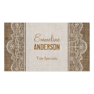 Vintage Rustic Burlap with Floral Lace Pack Of Standard Business Cards