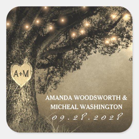 Vintage Rustic Carved Oak Wedding Favour Stickers