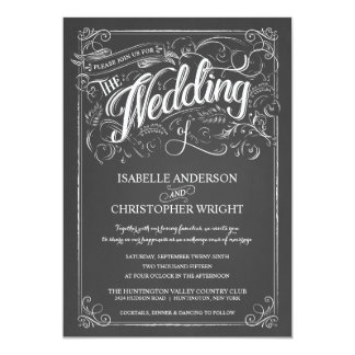 Vintage Rustic Chalkboard Art Wedding Invitations