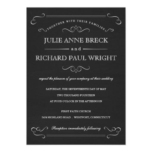 Vintage Rustic Chalkboard Wedding Invitations