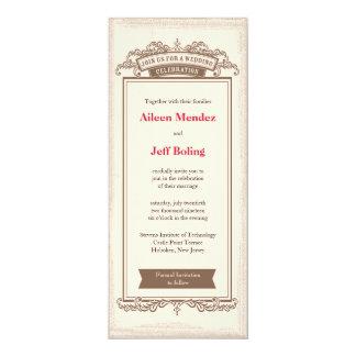 "Vintage Rustic Chic Wedding Invitation 4x9.25"""
