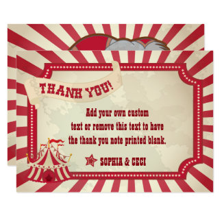 Vintage, Rustic Circus Thank You Cards