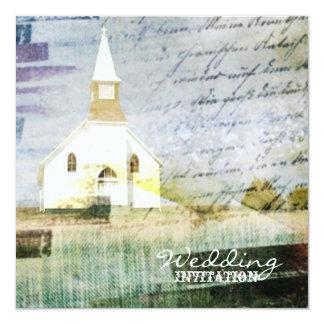 vintage rustic country chapel wedding card