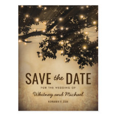 Vintage Rustic Country Tree Lights Save the Date