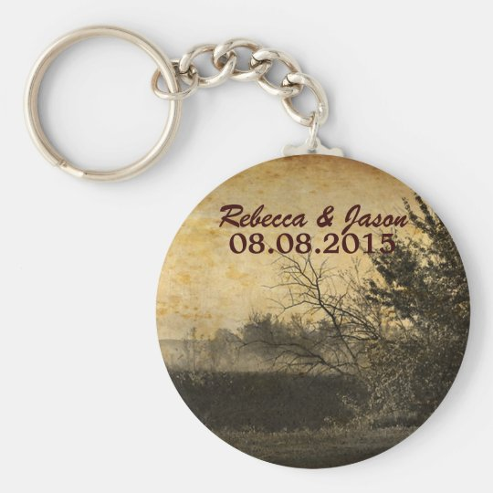 vintage rustic country wedding save the date key ring