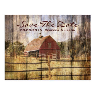 vintage rustic country wedding save the date postcard