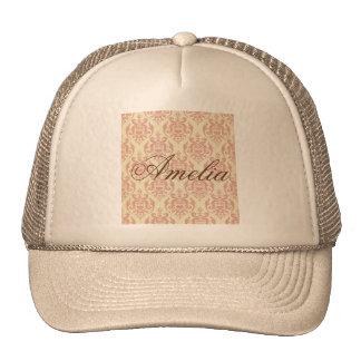 Vintage,rustic,damask,pink,pattern,retro,antique, Trucker Hat