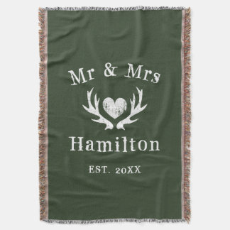 Vintage rustic deer antler mr and mrs hunter green throw blanket