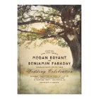 Vintage Rustic Fall Tree String of Lights Wedding Card