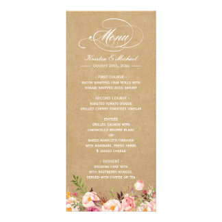 Vintage Rustic Floral Kraft Wedding Menu Template Customized Rack Card