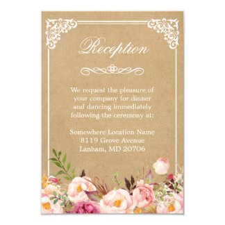 Vintage Rustic Floral Kraft | Wedding Reception Card