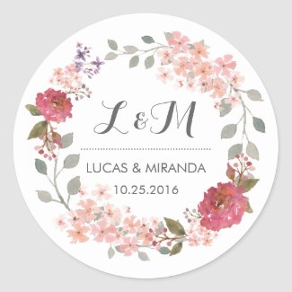 Vintage Rustic Floral Wreath Wedding Favour Sticker