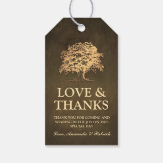 Vintage Rustic Gold Oak Tree Wedding Thank You