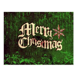 Vintage Rustic Grunge Merry Christmas Postcard