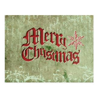 Vintage Rustic Merry Christmas Postcard