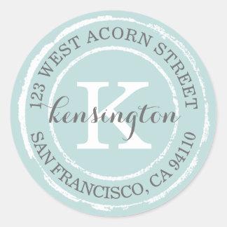 Vintage Rustic Monogram | Round Address Label Round Sticker