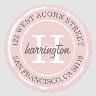 Vintage Rustic Monogram | Round Address Label Round Sticker