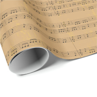 Vintage Rustic Music-Sheet Wrapping Paper