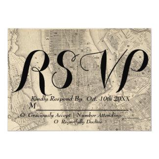 Vintage & Rustic NYC Map Wedding RSVP Card