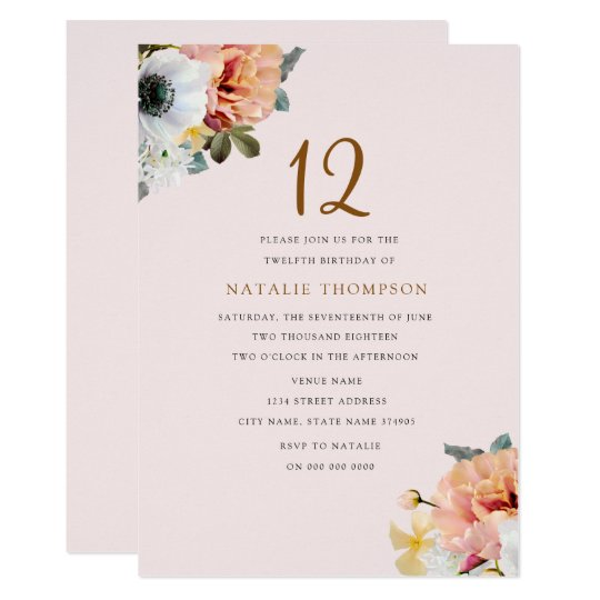 Vintage Rustic Peach Floral 12th Birthday Invite