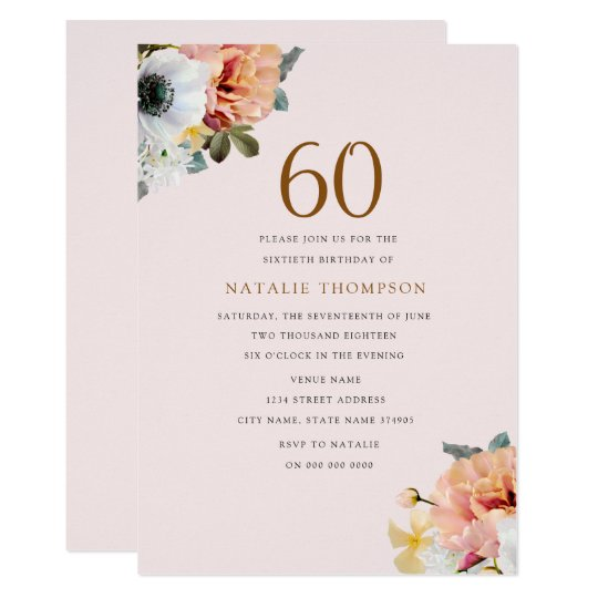 Vintage Rustic Peach Floral 60th Birthday Invite