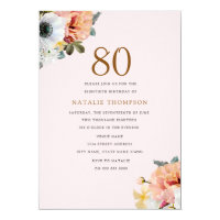 Vintage Rustic Peach Floral 80th Birthday Invite