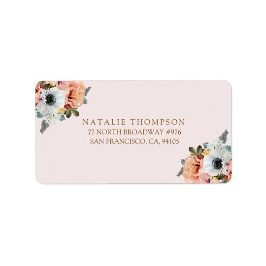 Vintage Rustic Peach Floral Return Address Label