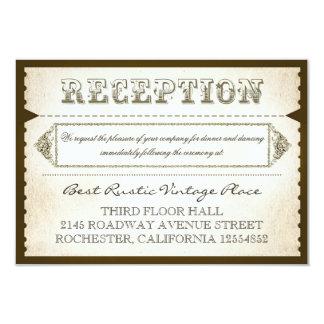 vintage rustic reception cards - tickets 9 cm x 13 cm invitation card