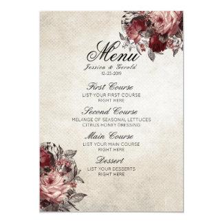 Vintage Rustic Red Roses Flower Wedding Menu Card