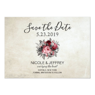 Vintage Rustic Red Roses Flower Wedding Save Date Card