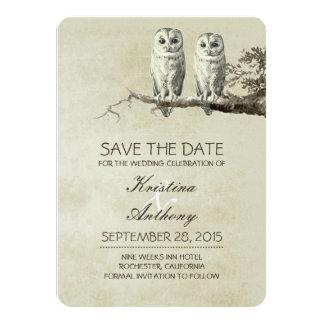 Vintage rustic save the date cards with OWL couple